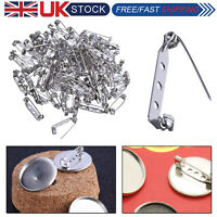 Brooch Backs Safety Pins Silver Tone Badge Fastener for Making Jewelry 25mm