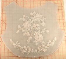 4 large organza mesh beaded applique panels lt blue embroidered flower design