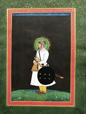 Original Indian Miniature Painting Fine Portrait of Mughal Nobleman