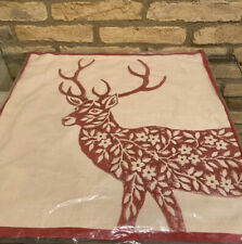 "Pottery Barn Dodson DEER Pillow Cover RED 20"" Square Christmas WINTER CABIN Stag"