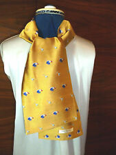 100% woven silk mens cravat/scarf  Cockerels and cocktails on gold NEW