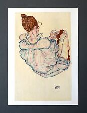 Egon Schiele Lichtdruck Collotype 36x50cm Signed Seated woman upside view 1917