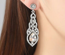 18K WHITE GOLD PLATED CLEAR CUBIC ZIRCONIA LONG DANGLE STATEMENT EARRINGS