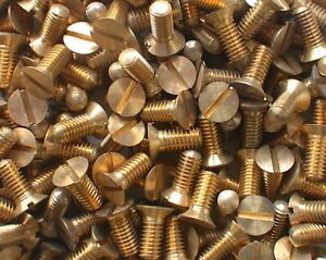 """Machine Screw 3BA x ⅜"""" pk12 Turned Brass Slotted Countersunk Head see detailsi"""