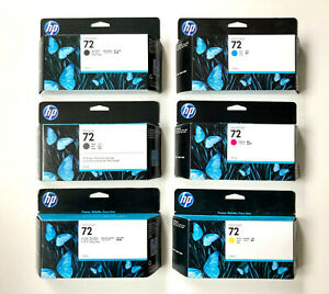 6 Original HP Tinte Nr. 72 DesignJet T610 T620 T770 T1100 - DATE 2020 Cartridges