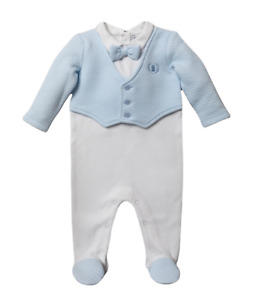 NEW Ex Matalan Baby Boys Suit Quilted Sleepsuit Spanish Romper Blazer Outfit