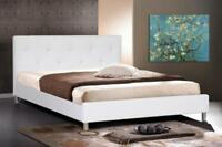 White Or Black Faux Leather Queen Bed Frame Crystal Button Tufted Modern