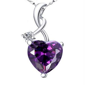 4.03Ct Created Amethyst Heart Cut Pendant Necklace 925 Sterling Silver w/ Chain