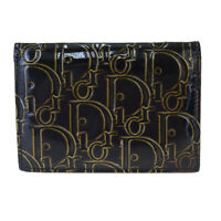 Auth Christian Dior Trotter Bifold Wallet Purse Patent Leather Black 07BK719