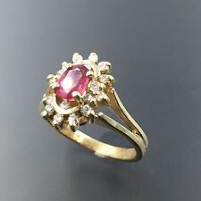 14K YELLOW GOLD OVAL RUBY & 0.18 CTW DIAMOND COCKTAIL RING SIZE 6 #1338