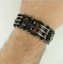 "Mens Stainless Steel Harley Primary Chain 1 Inch Wide 9"" L Biker Bracelet Hog"