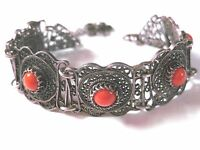 Antikes Armband Echtsilber mit Korallen