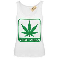 Vegetarian t-shirt weed cannabis smoke high Vest White Womens