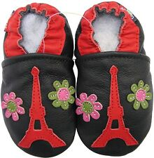 carozoo Eiffel tower flower 2-3y soft sole leather toddler shoes
