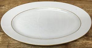 Bing & Grondahl Denmark Oval Platter White Embossed Flowers 316 Gold Verge HELP?