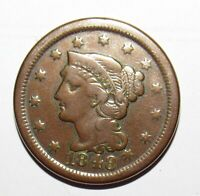 1848 Braided Hair Large Cent 1¢ Extremely Fine/About Uncirculated