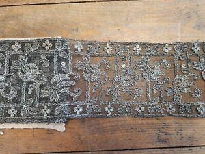 Ancienne dentelle galon broderies sur tulle fil argent 10cm*320 cm