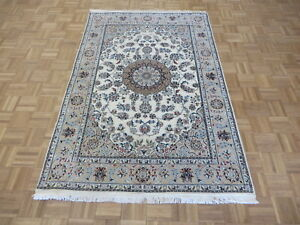 4'5 x 6'9 Hand Knotted Ivory Persian Fine Nain With Silk Oriental Rug G6534