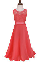 Girls Sleeveless Lace Floral Party Summer Dress New Kids Dresses Ages 4-14 Years
