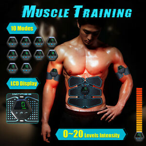 ABS Rechargeable Muscle Training Abdominal Body Exercise Stimulater LCD