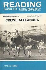 Reading v Crewe Alexandra - Div 3 - 7/4/1969 - Football Programme
