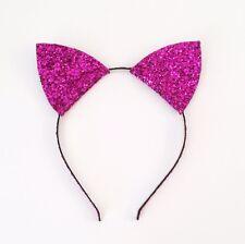 Halloween Orejas de Gato Diadema, Brillo Diadema, Navidad, Cosplay, color de rosa caliente