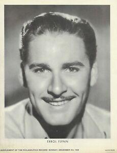 Errol Flynn 1938 Vintage BW 7 x 9 Paper Fan Photo Philadelphia Newspaper Suppl