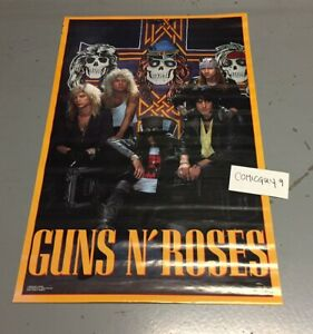 Vintage 1988 Guns N' Roses Skull Poster 22 1/2 x 34 inches Unused & Authentic
