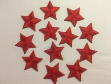 """Iron On Red Star Embroidered Appliques 1 3/8"""" (35mm)  10 pieces per package"""