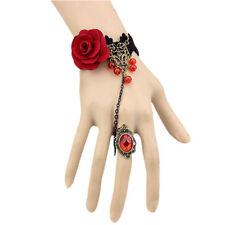 Handgefertigte Retro schwarze Spitze Vampir Sklave Armband mit Stoff Blume N7Z7
