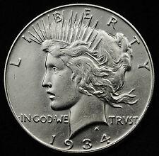 1934 Peace Silver Dollar.  A.U.  94305 (Inv. A)