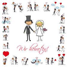 Lustige Hochzeits-Einladungen SET 1: 10 Hochzeitskarten + 10 passende Umschläge