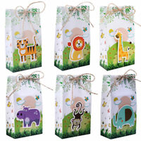 60x Jungle Safari Animals Favor Box Candy Boxes Gift Bag for Kids Birthday Party