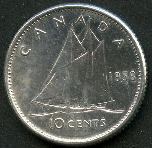 1956 'Dot' Canada 10 Cent Coin (2.33 Grams .800 Silver)