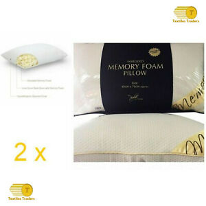 2 x Luxury Shredded Memory Foam Pillow Firm Head Neck Support Orthopaedic Pillow
