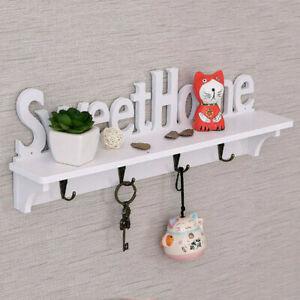 Wooden Wall Mounted Home Sweet Hanging Hanger Hooks Hat Key Holder Rack Shelf UK