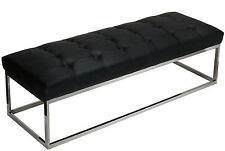 Cortesi Home Biago Contemporary Oversized Tufted Long Bench, Black Leather Like
