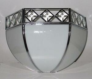 (CLEARANCE)  White Bevelled Bent Stained Glass Wall Light RM19 BV48WCH