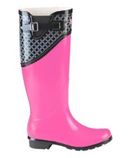 Puddletons Black & Pink Rain Boots with Buckle Classic Tall - Women Size 11