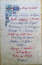 Menu: 1920 Handwritten French w/Color Vignette & Parchment-Like Paper