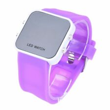 Purple LED Mirror Digital Sports Watch for Men and Women Silicone Jelly Ban G6L7