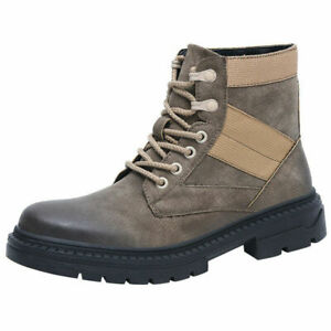 Retro Men Lace-Up Comfortable High-Top Ankle Boots Casual Fashion Round Toe Shoe