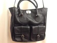 Mauve SRL Borsa in Pelle Italian Leather Black Shoulder Handbag with Dust Bag NW