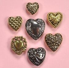 Pulsanti abbondante grandi FANCY HEARTS 4130-Oro Argento Vintage Dress IT UP