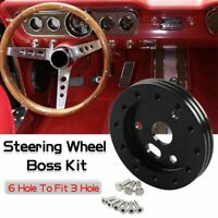 """Steering Wheel Spacer 6 Hole Hub Adapter 0.5"""" To Fit Grant APC 3 Hole"""