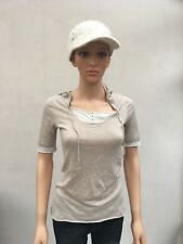 Kookai hooded top beige 6UK stretch short sleeves good condition