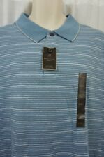Tasso Elba Island Casual Mens Shirt Sz XXL Chalky Blue Combo Striped Cotton Polo