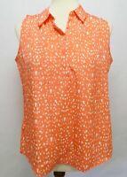Ann Taylor Loft Women's Medium Petite Shirt Sleeveless Button Down Pink Salmon