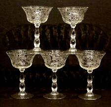 5 Vintage CAMBRIDGE Elegant Glass CHANTILLY / 3625 Stem CHAMPAGNE GOBLET Sherbet