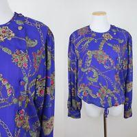 *FLAWS VTG 90s DIANE FREIS Violet Purple Blouse L Drawstring Gold Chains Baroque
